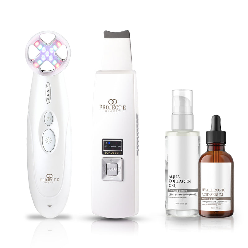 Tightening & Exfoliation Skin Care Set | Needle-Free Mesotherapy Photons EMS RF Device Wireless Ultrasonic Deep Cleansing Scrubber Aqua Collagen Gel Hyaluronic Acid Serum