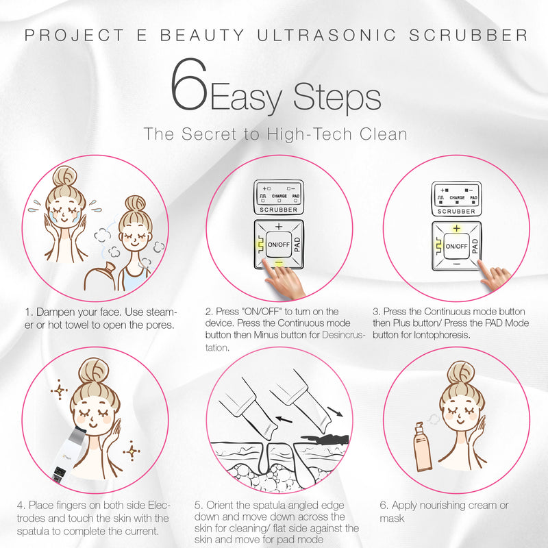 Wireless Ultrasonic Skin Care Scrubber | Exfoliation Spatula Lifting Deep Cleansing Blackhead Dead Skin Wrinkle Remover Pore Cleanser Peeling Anti Aging Skin Rejuvenation Spa Facial Beauty Device - project-e-beauty