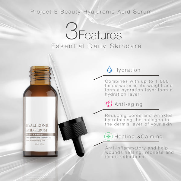 Hyaluronic Acid Serum with Vitamin C & Vitamin E Plumping, Anti-Aging, Hydrating, Moisturizing, Dark Spot Remover for Skin, Facial & Eyes Treatment - project-e-beauty