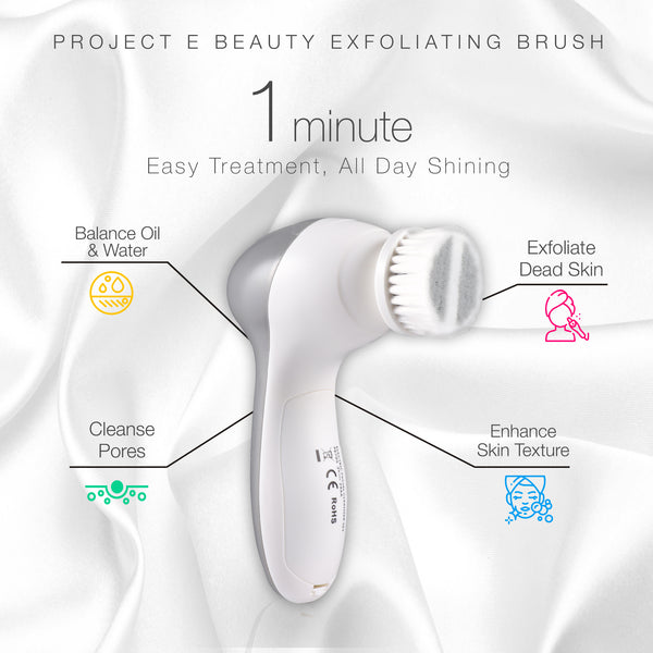 Electric Facial Cleanser Set | 360° Rotating Deep Cleansing Brush Battery Powered Portable Face Cleanser Travel Cleansing Brush Set with 3 Peeling Exfoliating Brush Heads For Men & Women Use - project-e-beauty