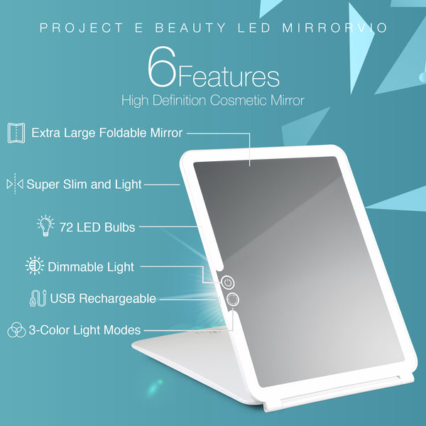 Mirrorvio | LED Travel Mirror Makeup Lighted Vanity 72 LEDs 3 Colors Lighting Modes Rechargable Foldable Ultra Thin Warm Soft Day Light Portable Touch Control Design Compact High Definition Cosmetic - project-e-beauty