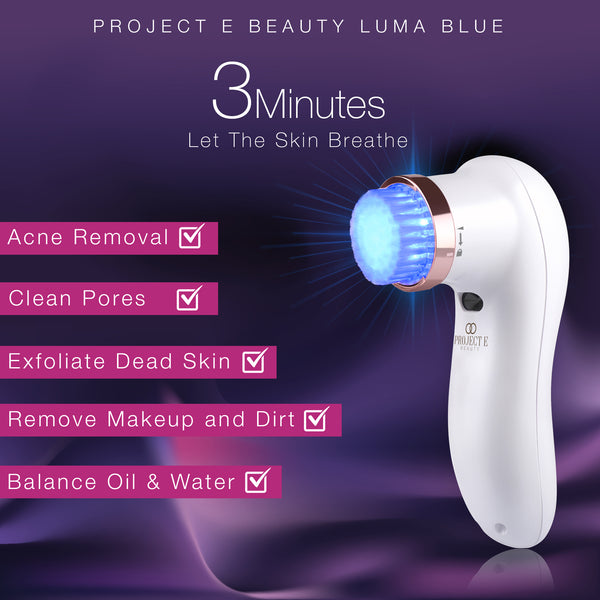 Luma Blue | Acne Light Therapy Cleansing Brush 415nm Blue Photon LED 360° Rotation Reduce Inflammation Smooth Improving Sensitive Skin Calming Anti Bacteria Treatment Facial Device - project-e-beauty