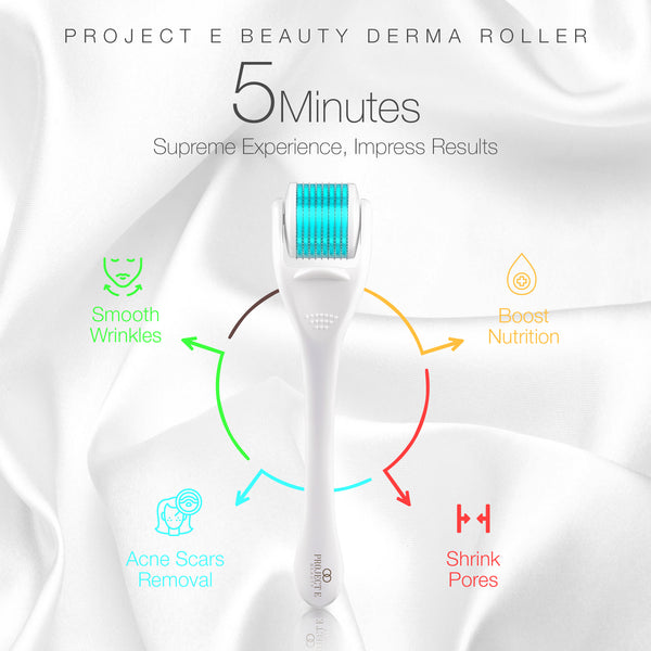 Derma Roller | 540 Titanium Micro Needle Facial Roller Microneedle Beauty Cosmetic Needling for Skin Care Face .25mm 0.25mm Dermaroller Kit Microneedling for Scars Wrinkles Fine lines Anti aging Home Use Men Women
