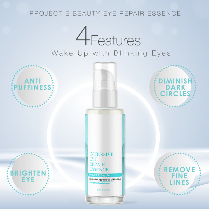 Project E Beauty Intensive Eye Repair Essence | Natural Organic Skin Care Facial Anti Aging Puffiness Dark Circles Wrinkles Fine Lines Removal Treatment 50ml 1.7oz
