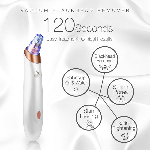 Vacuum+ Blackhead Removal Therapy | Ultrastrong Suction Facial Acne Whitehead Pimple Pore Nose Skin Peeling Shrink Pores Skin Tightening Extractor Cleanser Device USB Rechargeable 5 Treatment Heads