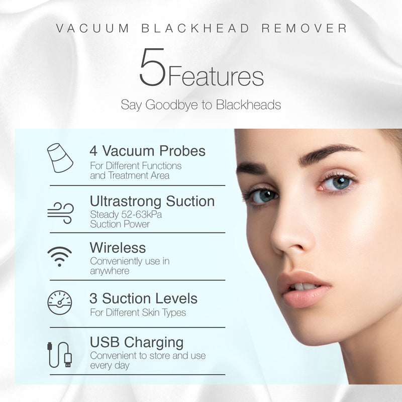 Vacuum+ Blackhead Removal Therapy | Ultrastrong Suction Facial Acne Whitehead Pimple Pore Nose Skin Peeling Shrink Pores Skin Tightening Extractor Cleanser Device USB Rechargeable 5 Treatment Heads - project-e-beauty