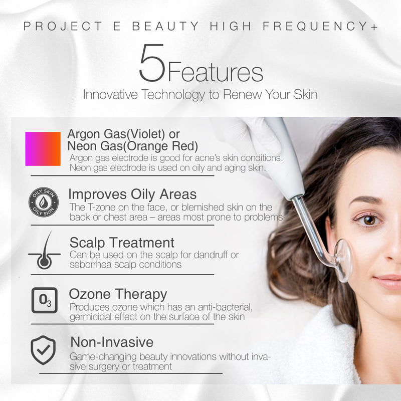 Project E Beauty Portable High Frequency D'arsonval Argon Electrodes for Skin Tightening Acne Spot Wrinkles Remover Puffy Eyes Beauty Therapy Device