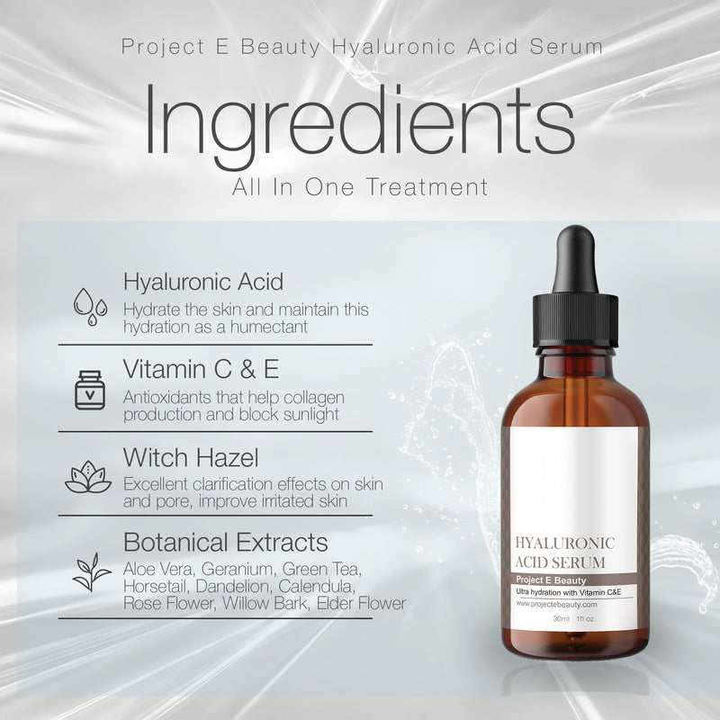 Project E Beauty Hyaluronic Acid Serum | Vitamin C & Vitamin E Plumping Oil-Free Glowing Complexion Anti-Aging Lifting Wrinkles Finelines Hydrating Moisturizing for Skin Care Facial & Eyes 30ml 1oz - project-e-beauty
