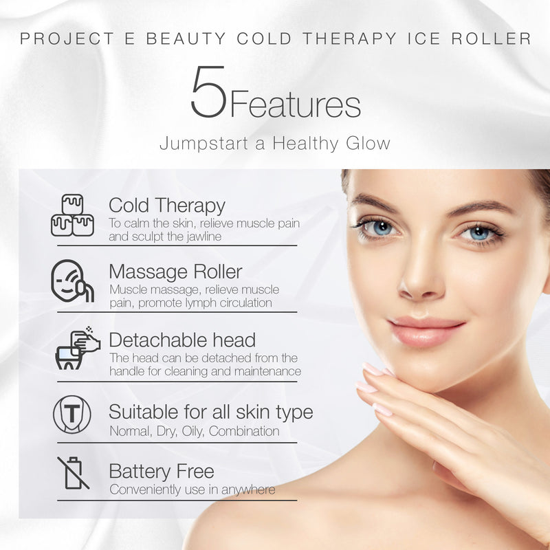 Ice Roller Cold Therapy | Face Eye Body Massage Massager Under Eye Puffiness Brightening Cooling Cool Roller Skin Tightening Care Reduce Wrinkles Dark Circles Muscle Soreness Pain Relief Redness - project-e-beauty