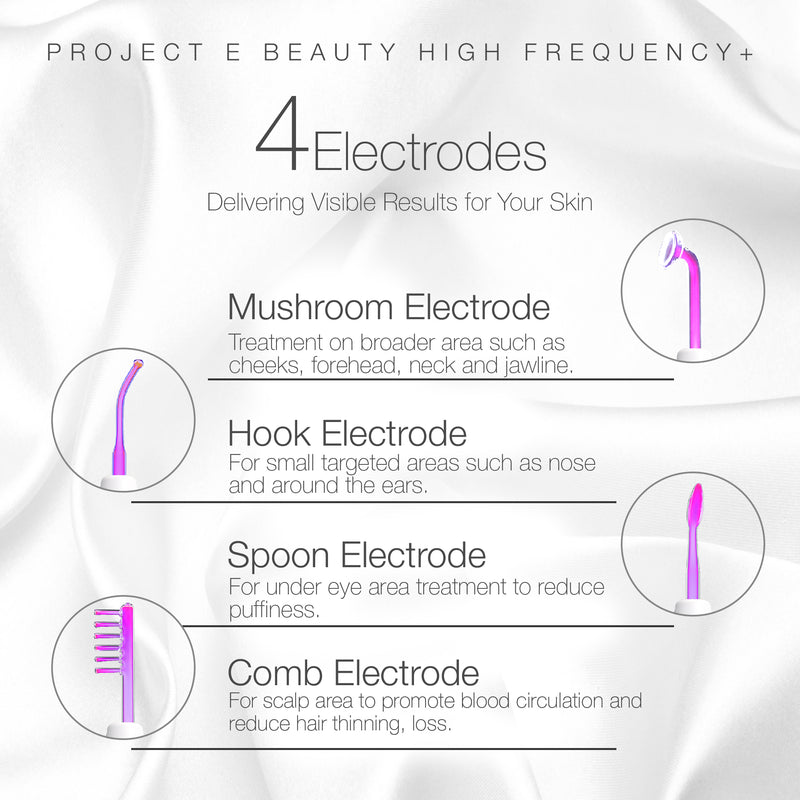 Project E Beauty Portable High Frequency D'arsonval Argon Electrodes for Skin Tightening Acne Spot Wrinkles Remover Puffy Eyes Beauty Therapy Device - project-e-beauty