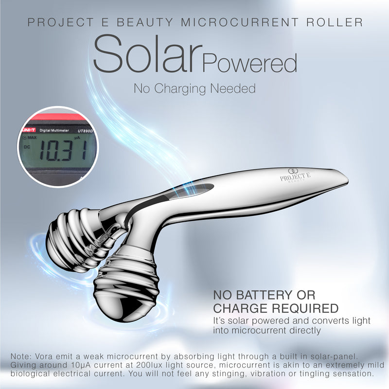 VORA Microcurrent Facial Roller | Solar Microcurrent 3D Face Kneading Ball Roller Massager for V-shaped Facial Lift Skin Tightening Smooth Fine Lines