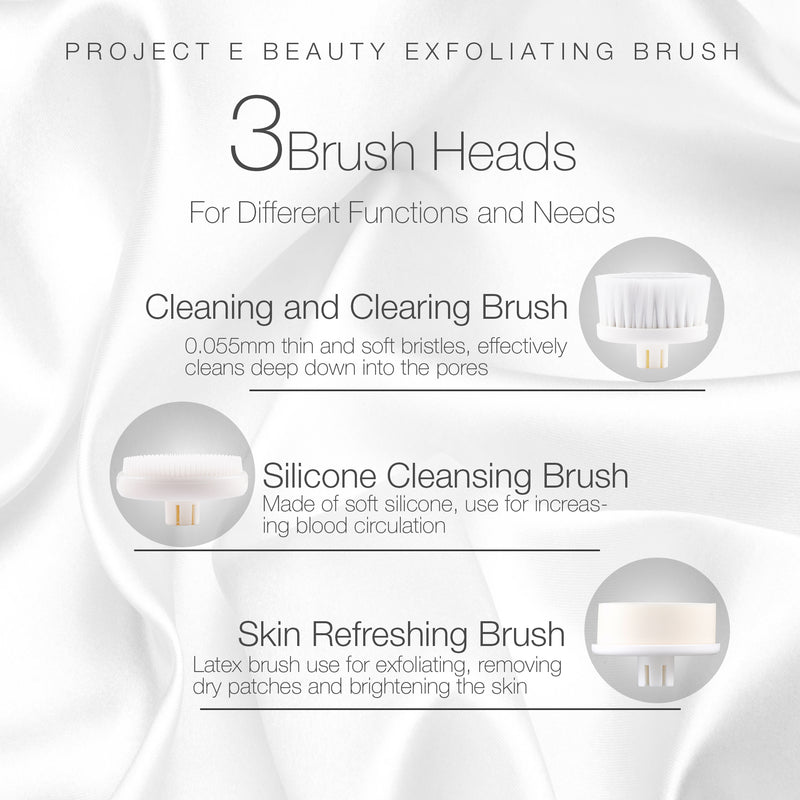 Portable Electric Facial Brush 360° Rotating Face Cleanser Travel Brush Set with 3 Exfoliating Brush Heads For Men & Women Use - project-e-beauty