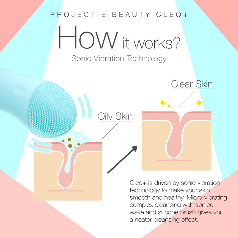 CLEO+ Sonic Facial Cleanser | Waterproof Silicon Deep Cleansing Exfoliating Brush USB Rechargeable Wireless Portable Face Cleanser Travel Lift Firm Skin Care Treatment Device Massager