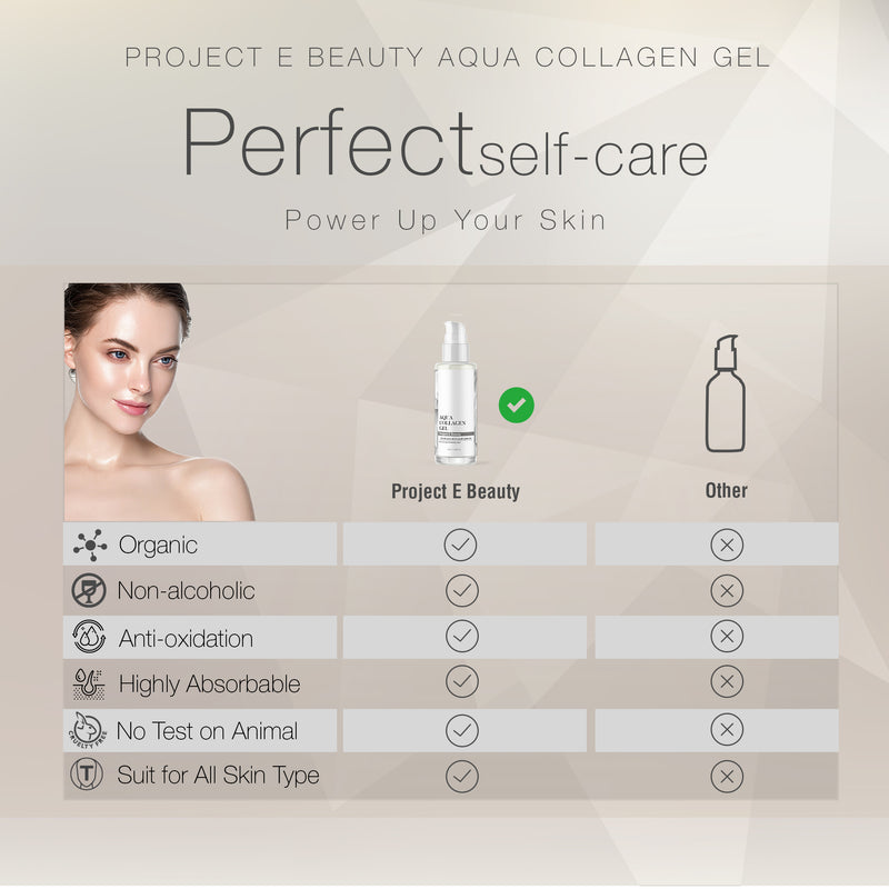 Project E Beauty Aqua Collagen Gel | Natural Organic Skin Care Vitamin C Facial Eye Anti Aging Fine Lines Wrinkles Lifting Tightening Plumping Firming Serum Lotion Ion Gel Treatment 50ml 1.7oz