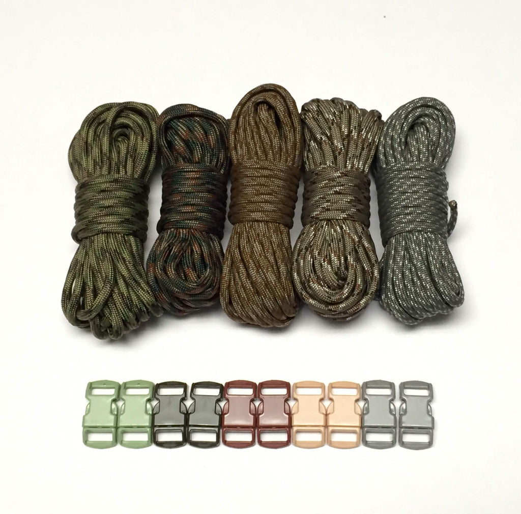 100 ft Camo Paracord Kit with 10 Multicolored Matching Paracord Buckles