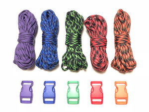 100 ft Patterns 2 Paracord Kit w 5 Multicolored Matching Paracord Buckles by Stockstill Outdoor Supply