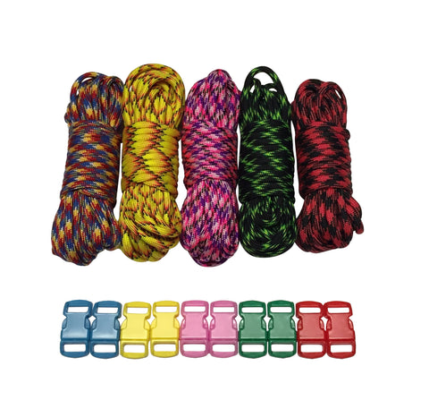 100 ft Patterns Paracord Kit with 10 Multicolored Matching Paracord Buckles