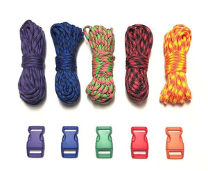 100 ft Patterns Paracord Kit w 5 Multicolored Matching Paracord Buckles by Stockstill Outdoor Supply