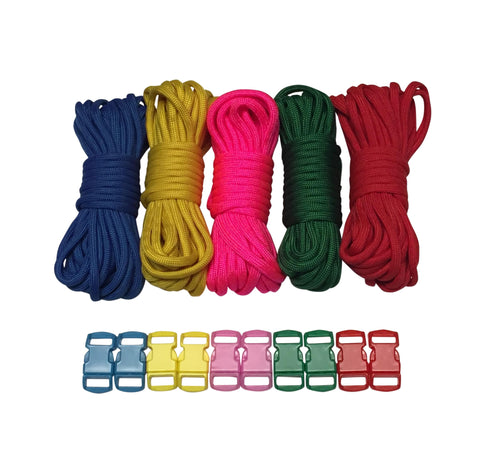 100 ft Solid Paracord Kit with 10 Multicolored Matching Paracord Buckles