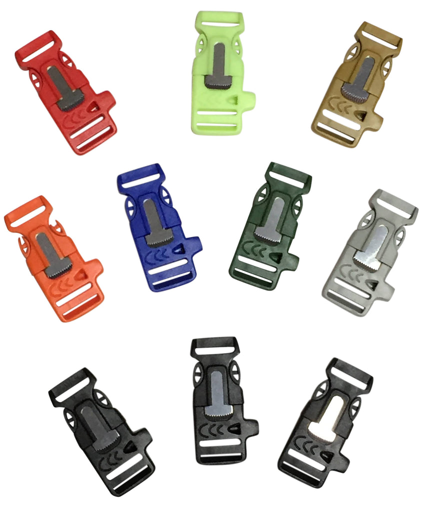 Multicolored Firesteel Whistle Paracord Buckles by Stockstill Outdoor Supply