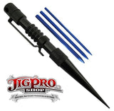 Jig Pro Knotters Tool II  with Blue Lacing Fids by Stockstill Outdoor Supply (Black Aluminum)