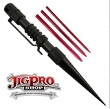 Jig Pro Knotters Tool II  with Red Lacing Fids by Stockstill Outdoor Supply (Black Aluminum)