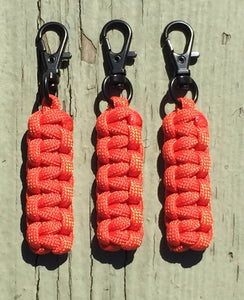 Paracord Zipper Pulls - Orange w/Black Swivel Hooks by Stockstill Outdoor Supply