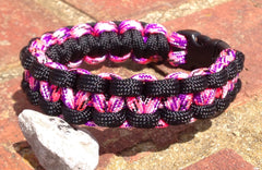 Pink Camo & Black Paracord Bracelet by Stockstill Outdoor Supply