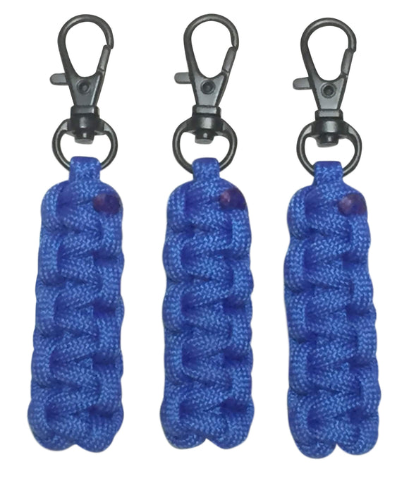 Paracord Zipper Pulls - Royal Blue w/Black Swivel Hooks by Stockstill Outdoor Supply