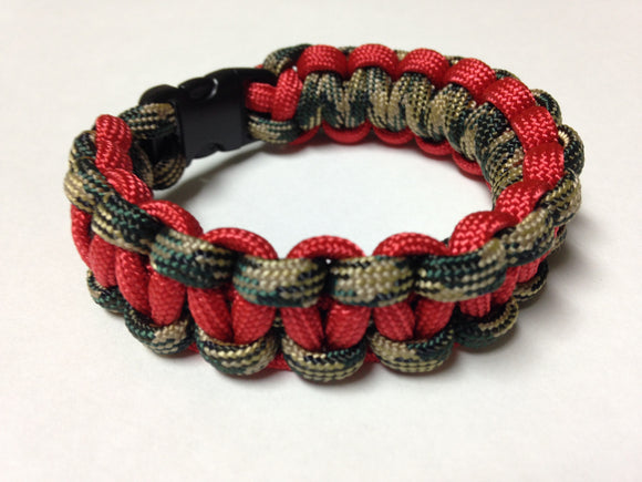 Camo & Red Paracord Bracelet