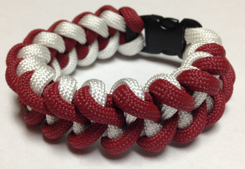 Paracord Bracelet - Crimson & White Shark Tooth Weave by Stockstill Outdoor