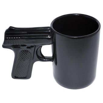 Black Ceramic Gun Coffee Mug 16.9oz.