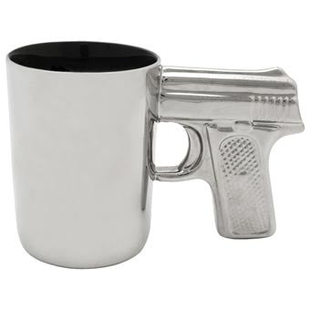 Chrome Ceramic Gun Mug 16.9oz.