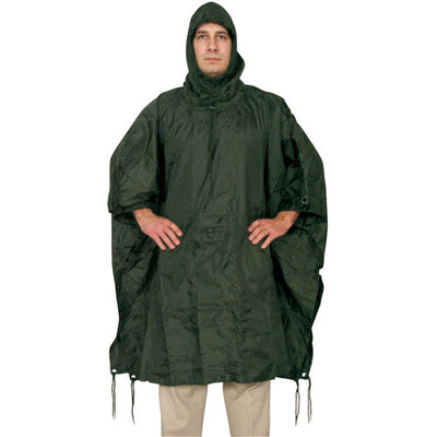 Solid Color Ripstop Poncho