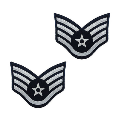 Air Force Silver / Blue Staff Sergeant Chevron Male (1 Pair)