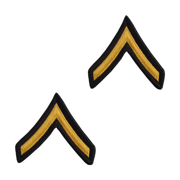 Army Male Gold / Green Private Chevron Set (1 Pair)