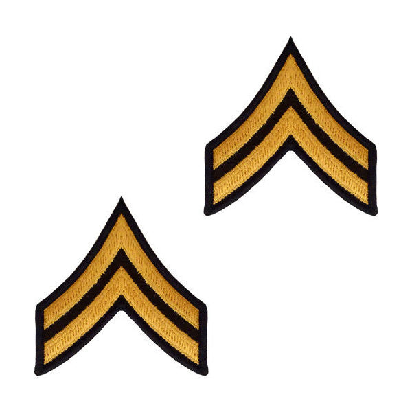 Army Male Gold / Green Corporal Chevron (1 Pair)