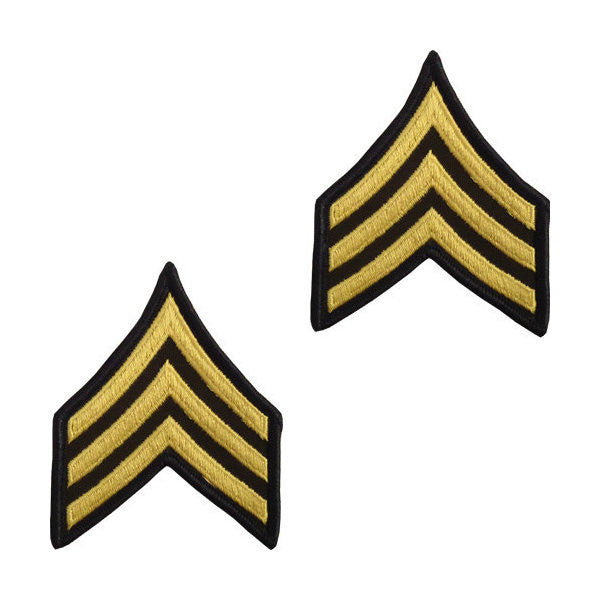 Army Male Gold / Green Sergeant Chevron (1 Pair)
