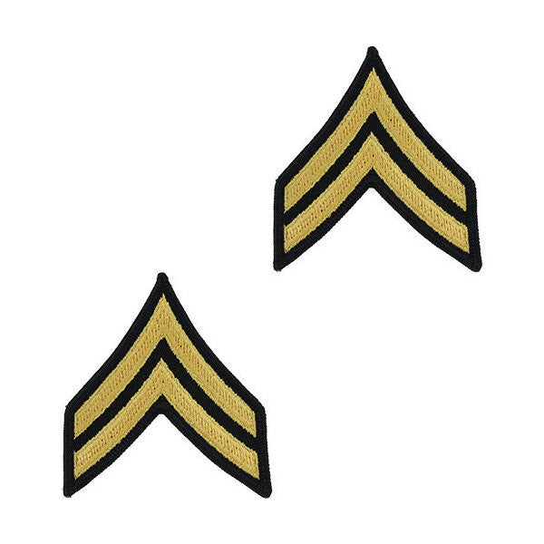 Army Male Gold / Blue Corporal (E-4) Chevron Set (1 Pair)