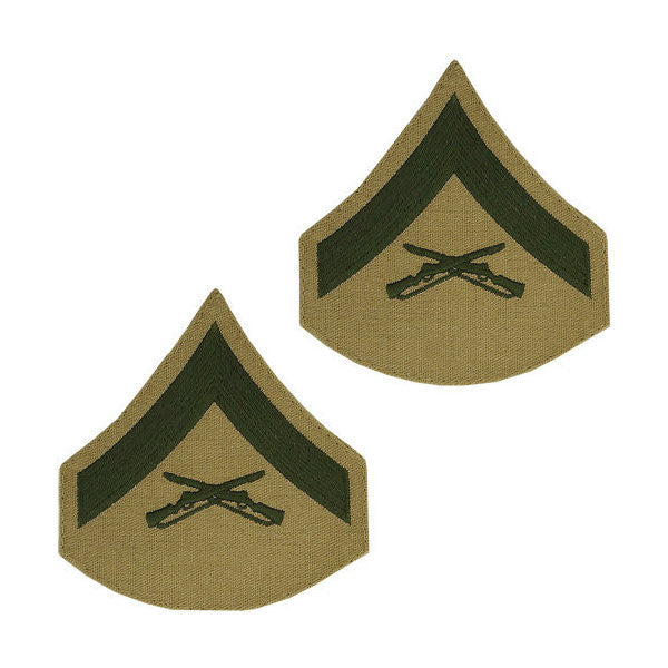Marine Male Green / Khaki Lance Corporal Chevron Set (1 Pair)