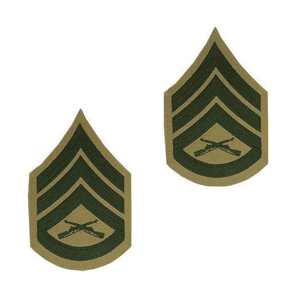 Marine Male Green / Khaki Staff Sergeant Chevron Set (1 Pair)