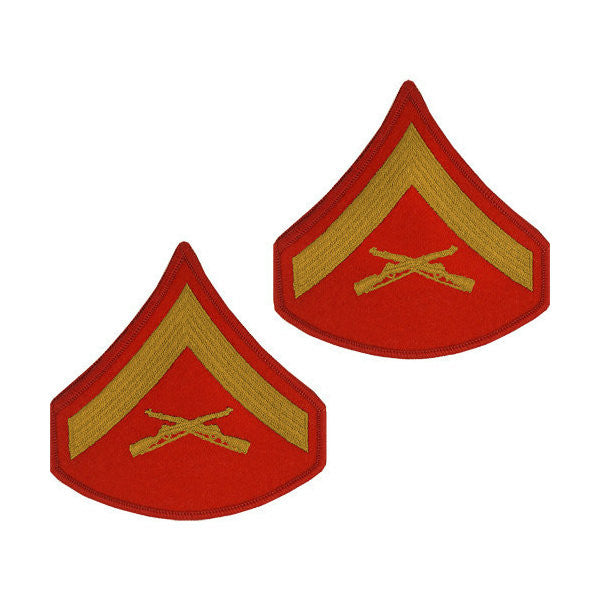Marine Male Gold / Red Lance Corporal Chevron Set