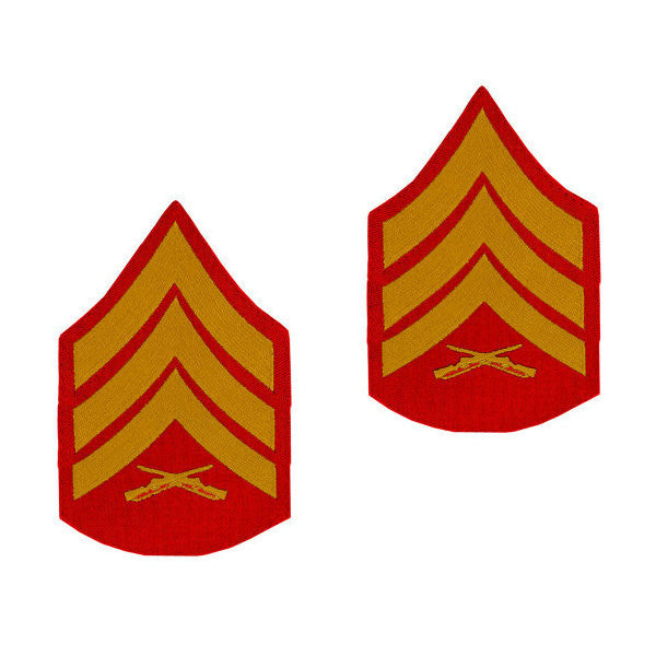 Marine Male Gold / Red Sergeant Chevron Set