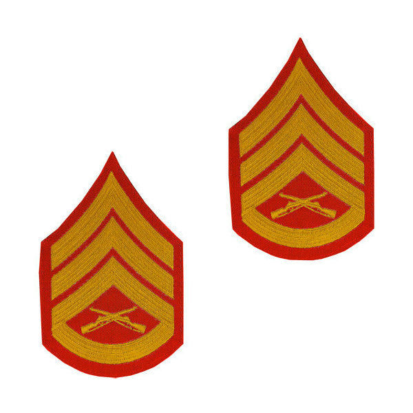 Marine Male Gold / Red Staff Sergeant Chevron Set (1 Pair)