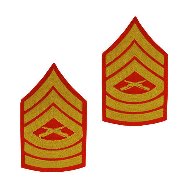 Marine Male Gold / Red Master Sergeant Chevron Set