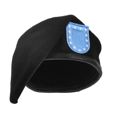 GI Inspection Ready Beret With Army Flash Black