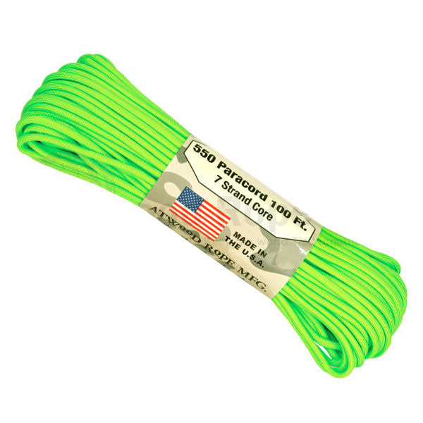100Ft 550 Paracord Neon Green - Indy Army Navy
