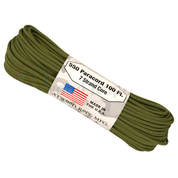 100Ft 550 Paracord Olive Drab - Indy Army Navy
