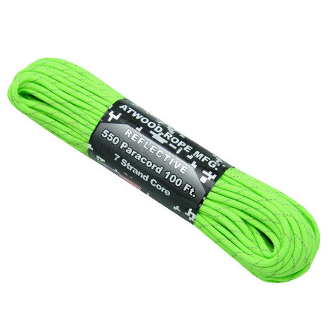 100Ft 550 Paracord Reflective Neon Green - Indy Army Navy