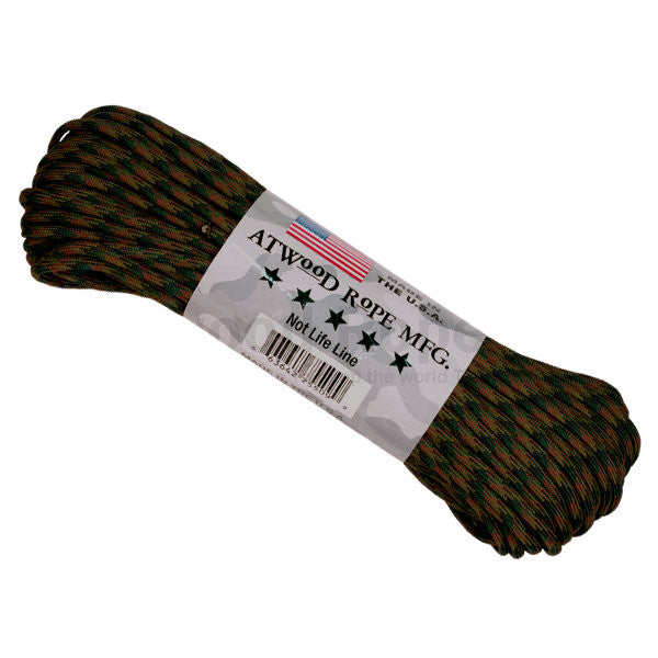 100Ft 550 Paracord Woodland Camouflage - Indy Army Navy